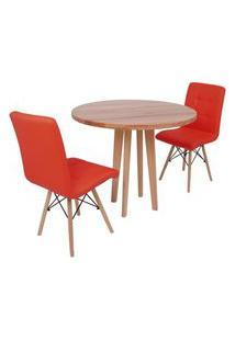 Conjunto Mesa De Jantar Em Madeira 90Cm Com Base Vértice + 2 Cadeiras Gomos - Vermelho