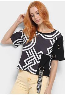 Camiseta Dimy Argolas Feminina - Feminino-Preto