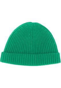 N.Peal Gorro Canelado De Cashmere - Verde