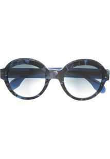 Emmanuelle Khanh Óculos De Sol Redondo Com Efeito Tartaruga - Azul