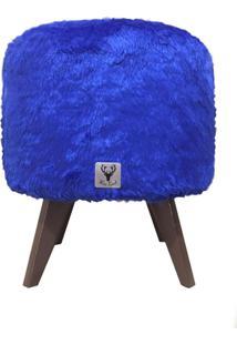 Puff Pã© Palito Redondo Alce Couch Pelinho Pelucia Azul 40Cm - Azul - Dafiti