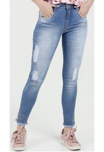 ... Calça Feminina Jeans Skinny Puídos Biotipo 940307bc50a