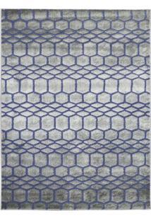 Tapete Ric- Cinza & Azul- 290X195Cm- Tapete São Tapete São Carlos