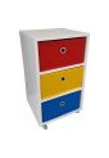 Mesa De Cabeceira Gaveteiro Organibox Com 3 Gavetas E Rodízios 32X56X30 Cm - Vermelho - Amarelo - Azul