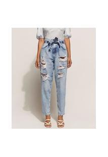 Calça Jeans Feminina Baggy Cintura Super Alta Marmorizada Destroyed Com Faixa Para Amarrar Azul Claro