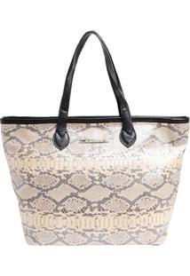 Bolsa Em Couro Snake- Off White & Preta- 29X44X14Cm