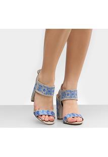 Sandália Bottero Salto Grosso Bordada Feminina - Feminino-Azul