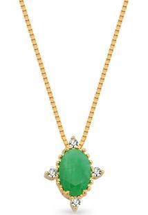 Pingente Ouro Amarelo Diamantes E Esmeralda