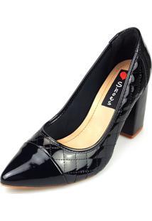 Scarpin Love Shoes Alto Bico Fino Boneca Grosso Matelasse Verniz Preto