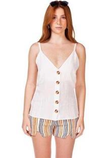 Blusa Serinah Decote V Botões Feminina - Feminino-Branco