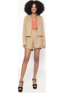 Conjunto De Casaqueto + Short Em Tweed - Amarelo Escuro Wool Line