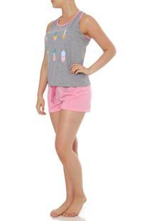 Pijama Curto Feminino Cinza/Rosa
