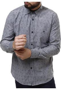 Camisa Manga Longa Masculina Cinza/Azul Marinho
