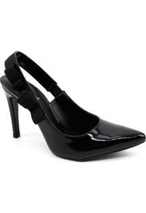 Sapato Chanel Mixage Verniz - Feminino-Preto