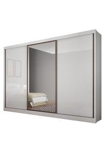 Guarda Roupa Casal Novo Horizonte Spazzio 8 Gavetas Espelho Branco