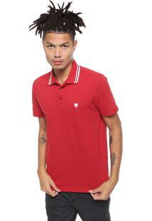 Camisa Polo Cavalera Botões Vermelha