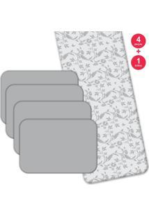 Jogo Americano Love Decor Com Caminho De Mesa Premium Flowers Kit Com 4 Pçs 1 Trilho