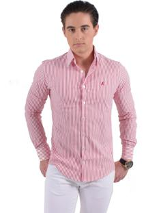 Camisa Social Listrada Horus Slim 200108 Rosa