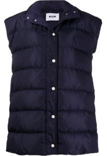 Msgm Padded Hooded Vest - Azul