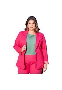 Blazer Amplo Almaria Plus Size She Brand Alfaiataria Rosa
