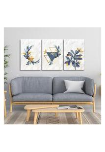 Quadro 60X120Cm Escandinavo Floral Atenas Canvas Decoraçáo