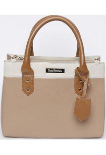 Bolsa Em Couro Com Bag Charm - Nude & Branca- 23X2Mv Couros