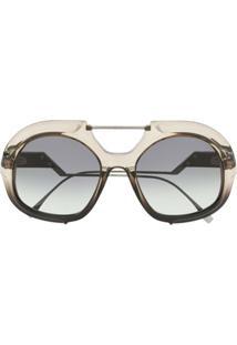 Fendi Eyewear Óculos De Sol Oversized - Preto