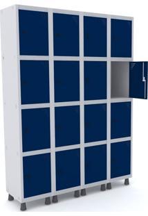 Roupeiro De Aço 4 Vãos 16 Portas Com Pitão Pandin - Cinza E Azul Del Rey