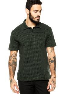 Camisa Polo Manga Curta Quiksilver Quadriculado Verde/Preta