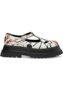Burberry Sapato Brogue Com Tira Em T E Estampa - Branco