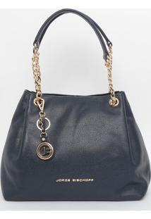 Bolsa Em Couro Com Correntes - Azul Marinho & Dourada