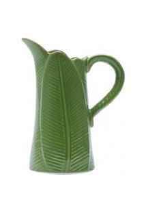 Jarra De Cerâmica Lyor Linha Banana Leaf 18X11X23Cm Verde