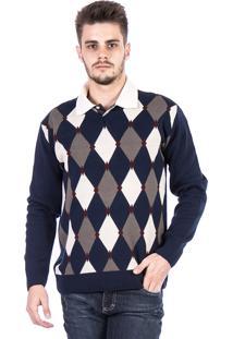 Blusa Tricot Carlan Decote V Estampado Losango Azul Marinho