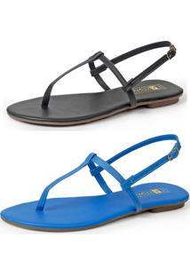 Kit Com 2 Sandálias Luma Ventura Mary Preta Azul