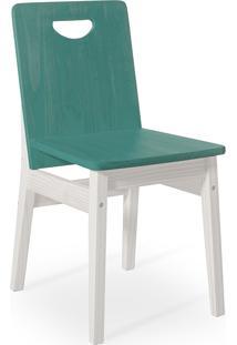 Cadeira Para Mesa De Jantar Tucupi 40X51X81Cm - Acabamento Stain Branco E Azul
