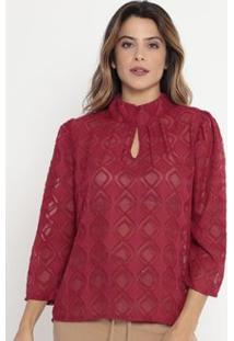 Blusa Geométrica Texturizada Operate Feminina - Feminino-Vinho