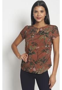 Blusa Floral Com Folhagens- Marrom & Verdevip Reserva