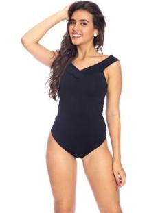 Body Moda Vicio Regata Com Transpasse Na Pala - Feminino-Preto
