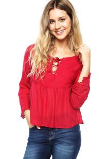 Blusa Disparate Crochê Vermelha