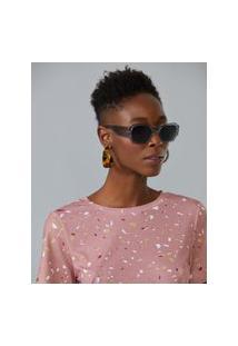 Amaro Feminino Óculos De Sol Geométrico Acetato Reciclado, Cinza Claro