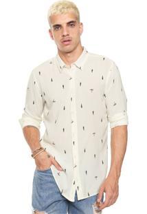 Camisa Linho Osklen Reta Estampada Off-White