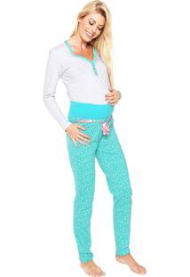 Pijama Malwee Liberta Maternity Cinza/Verde