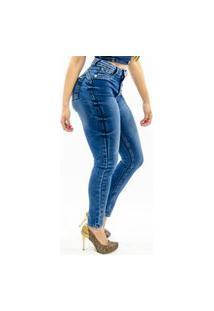 Calça Jeans Feminina Cintura Alta Frozini Skinny Com Elastano Borboleta Pins Laterais Azul Escuro Marmorizada