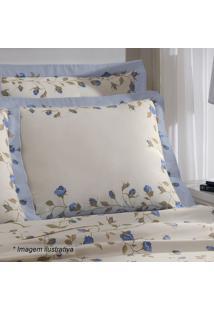Fronha Visione Mabele- Off White & Azul Escuro- 70X5Buettner