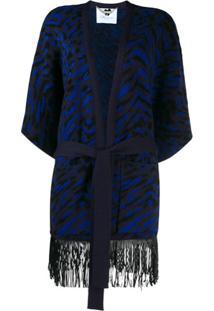 Blumarine Cardigan Com Cinto E Franjas - Azul