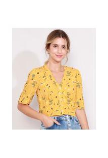 Blusa Feminina Cropped Com Botões Estampada Floral Manga Curta Decote V Amarelo