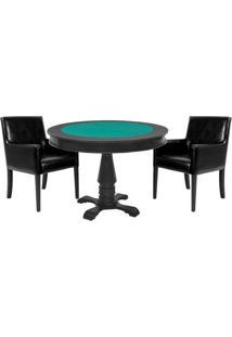 Mesa De Jogos Carteado Victoria Redonda Tampo Reversível Preto Com 2 Cadeiras Liverpool Corino Preto Liso - Gran Belo