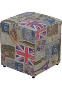 Puff Quadrado Decorativo Tecido Linho London - Lyam Decor