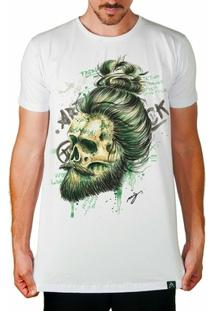 Camiseta Longline Artseries Caveira Barba Masculina - Masculino