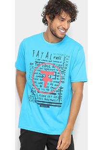 Camiseta Fatal Estampada Masculina - Masculino-Azul Turquesa